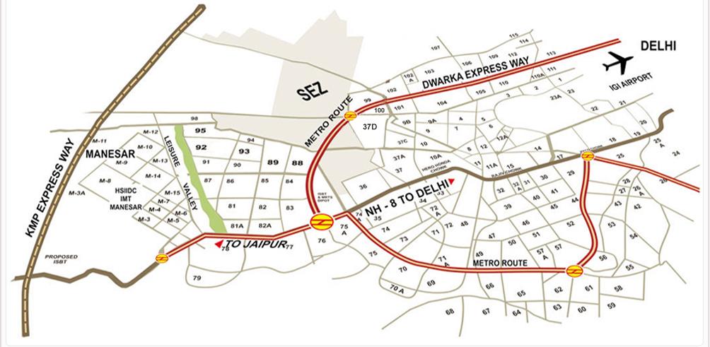 Map of Dwarka Expressway