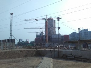 Construction work at Wadhwa Atmosphere in Mulund, Mumbai