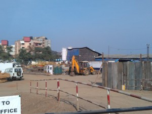 Project office and materials at Wadhwa Atmosphere in Mulund, Mumbai
