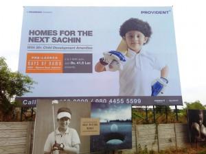Hoardings outside marketing office of Provident Sunworth-Rays of Dawn Marketing office