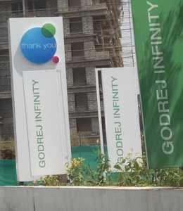 Godrej Infinity, Keshavnagar Pune signboards as we leave the site