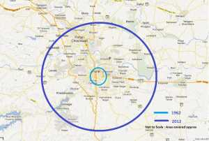 A map of the proposed circular expansion resulting in the Pune Ring Road.