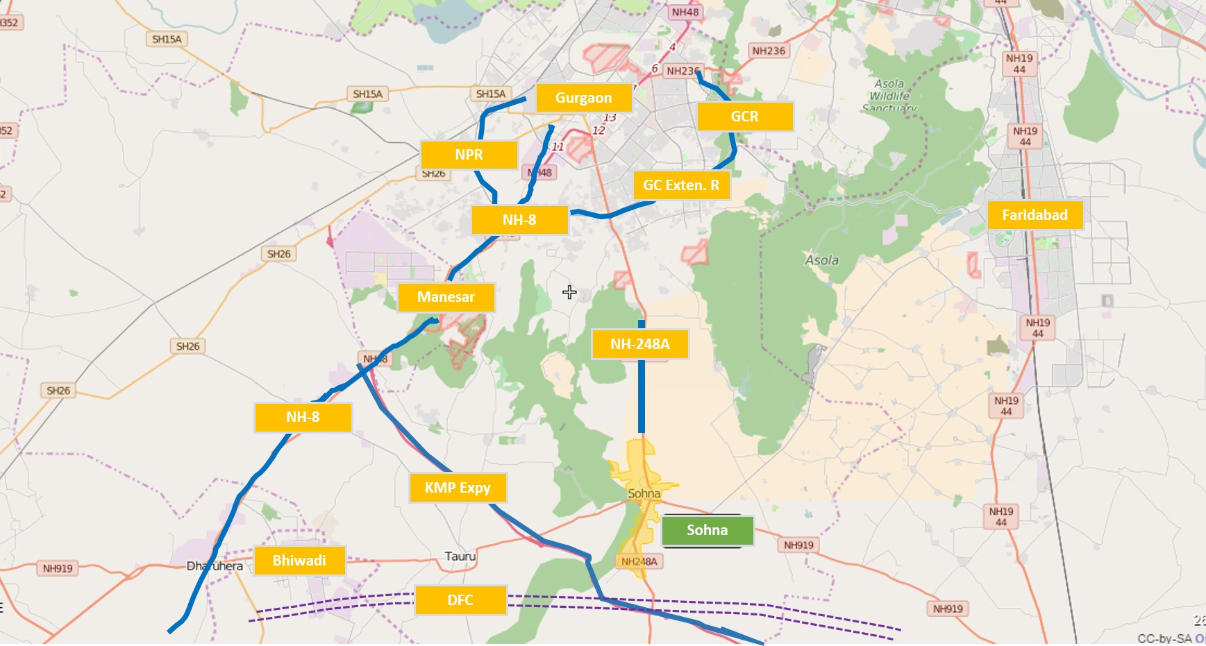 South of Gurgaon - Location and Connectivity