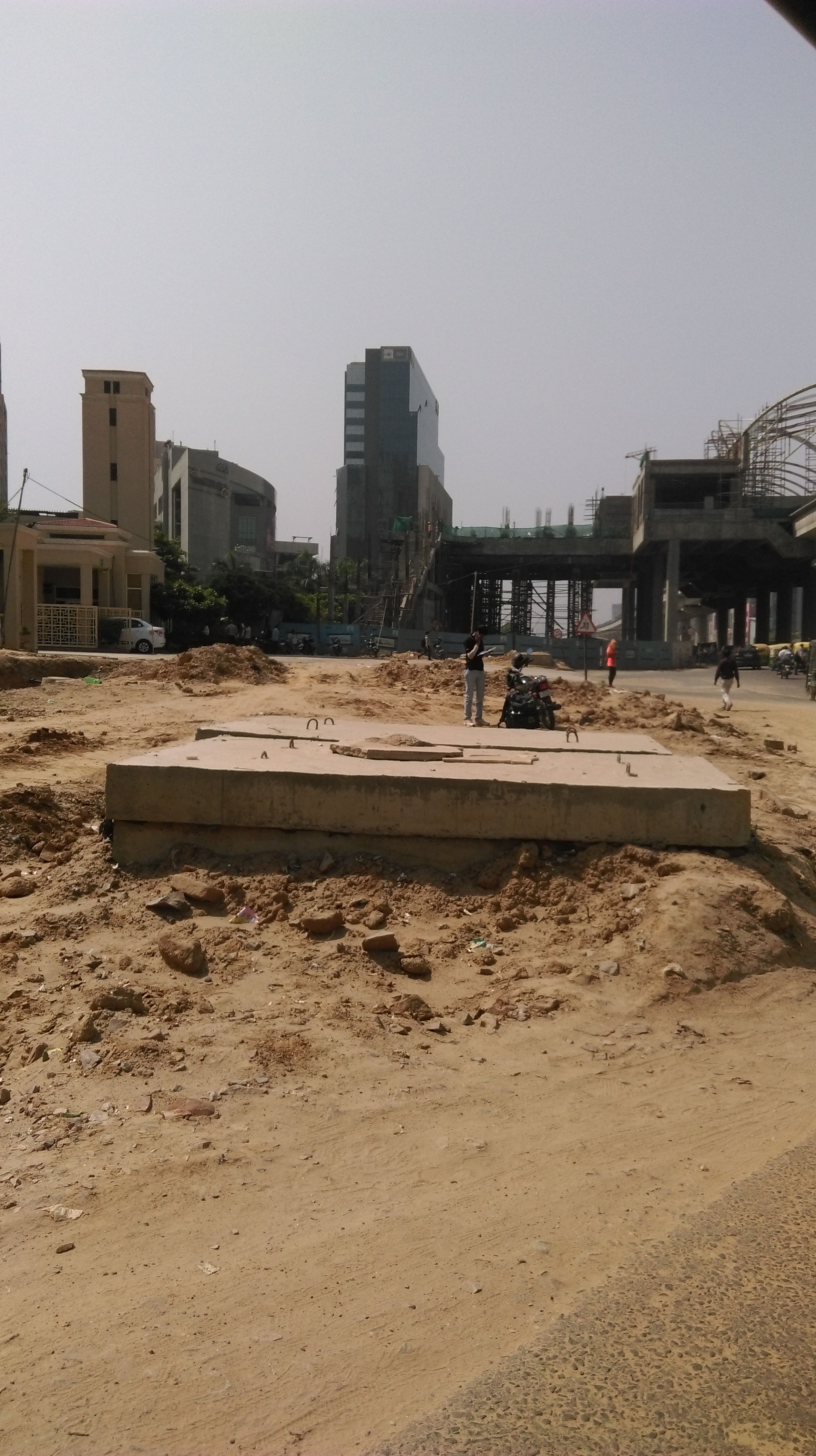 Under construction rapid metro station at Sector-55 Gurgaon
