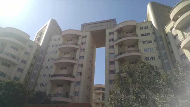 View of two buildings from Laburnum Park housing complex in Magarpatta City