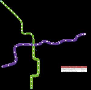 (source: Wikimedia- https://upload.wikimedia.org/wikipedia/commons/2/20/Namma_Metro_Phase_1_line_map.png)