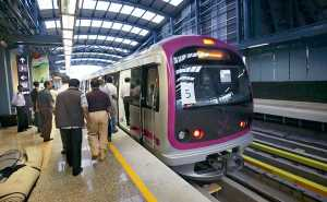 Metro train at Bypanhalli Metro station during a press preview in Bangalore