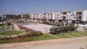 Site photograph of the Mantri Euphoria villa project near the Outer RIng Road in Hyderabad