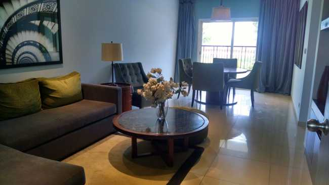 Living cum dining room in sample apartment of Sobha Dream Acres project in Balagere, East Bangalore