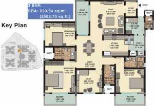 Sobha Palladian-3bhk-Floor Plan