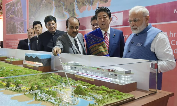 Indian and Japanese PMs at the laying of the foundation stone
