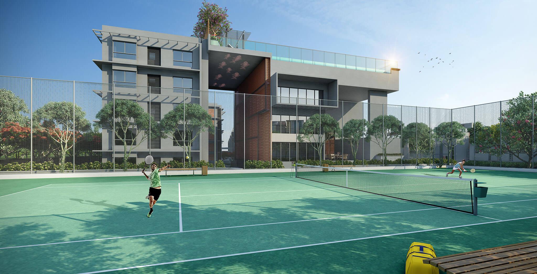 Badminton court in Brigade Woods.
