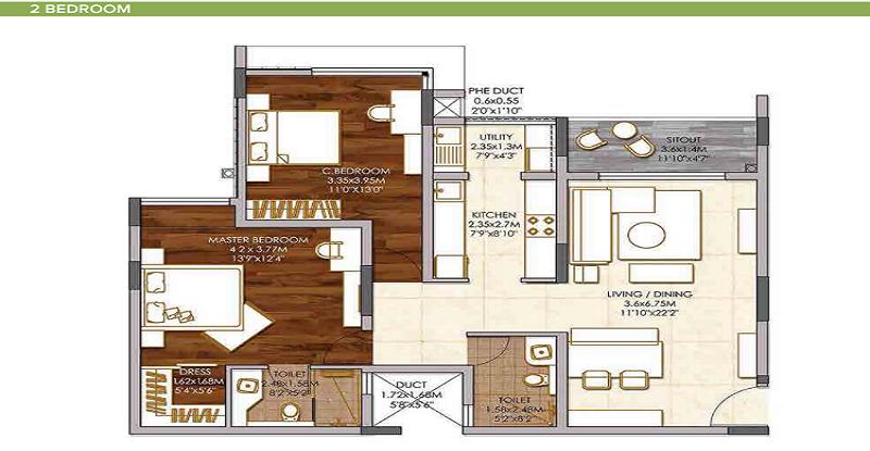 2 BHK apartment in Brigade Woods