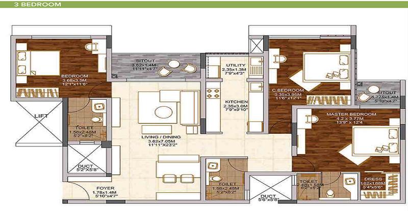 3 BHK apartment in Brigade Woods