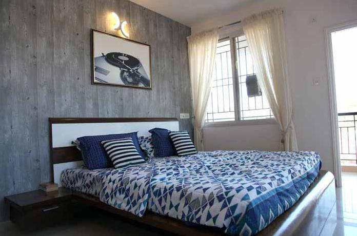 Bedroom of sample apartment at Gopalan Atlantis