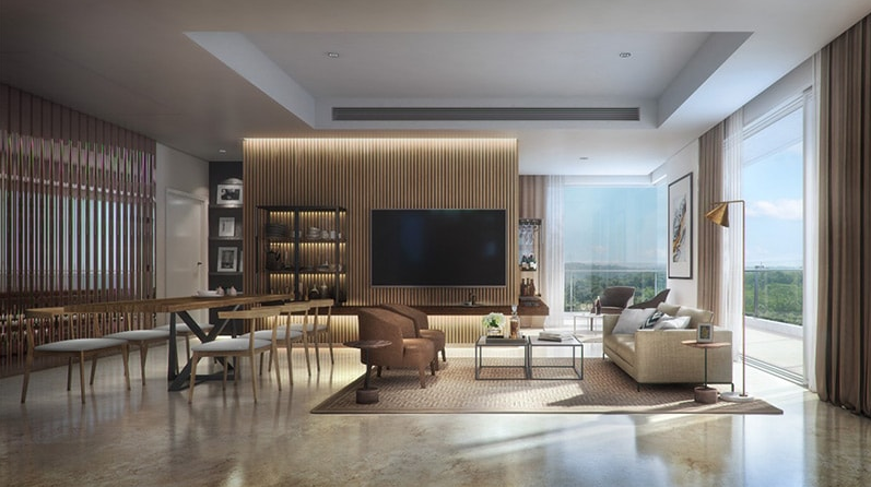 Artistic impression of Conscient Hines Elevate living-dining room