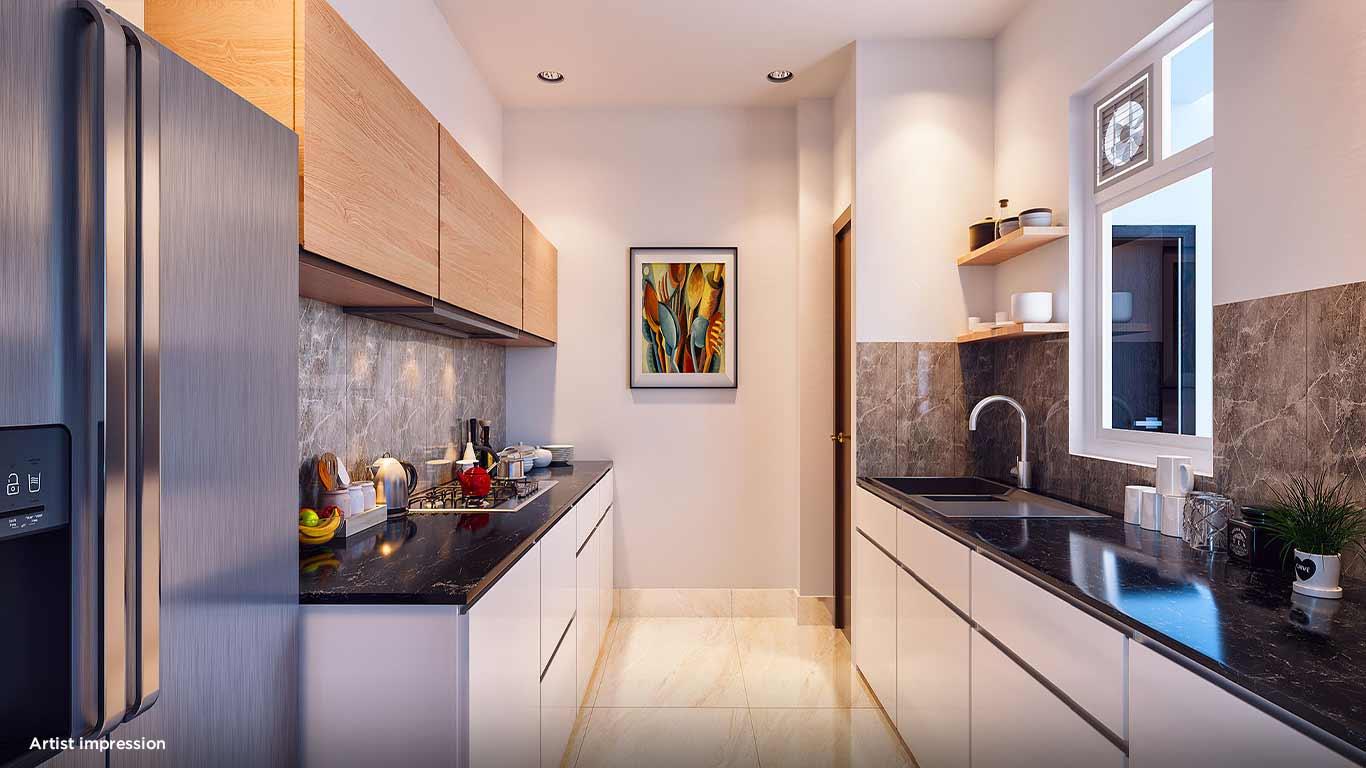 Artistic representation of kitchen at Mahindra Vicino