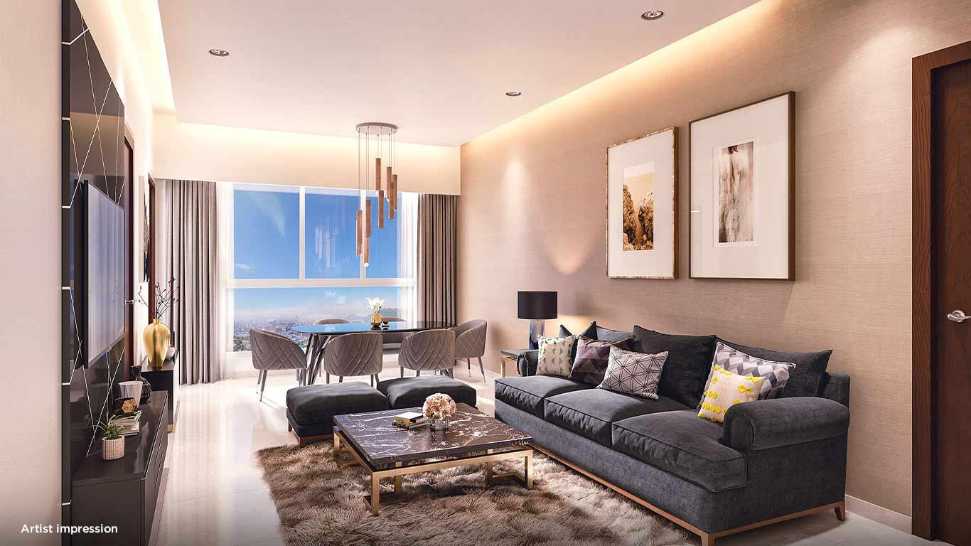 Artistic representation of living room at Mahindra Vicino
